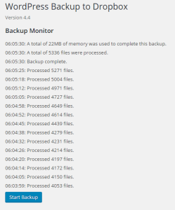 WordPress Backup to Dropbox Version 4.4